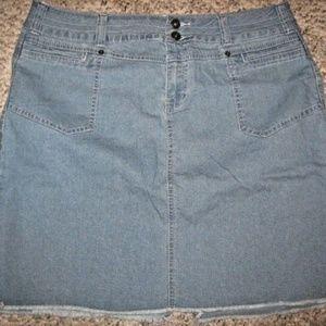Blue Jean Stretch Denim Distress Hem Mini Skirt 14